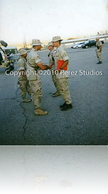 Photo of Manuel Perez getting promoted to Corporal while in the United States Marine Corps.